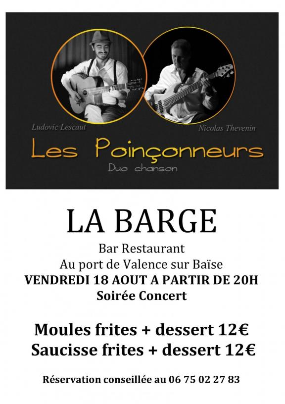 soir e concert la barge. Black Bedroom Furniture Sets. Home Design Ideas