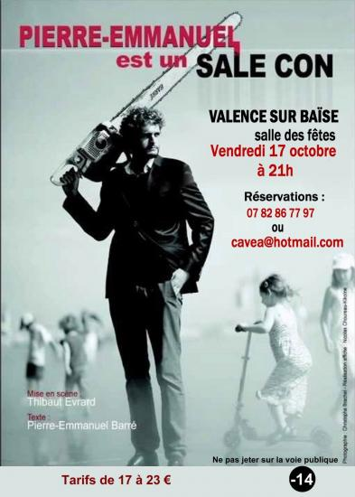 Flyer spectacle pierre emmanuel barre sal con