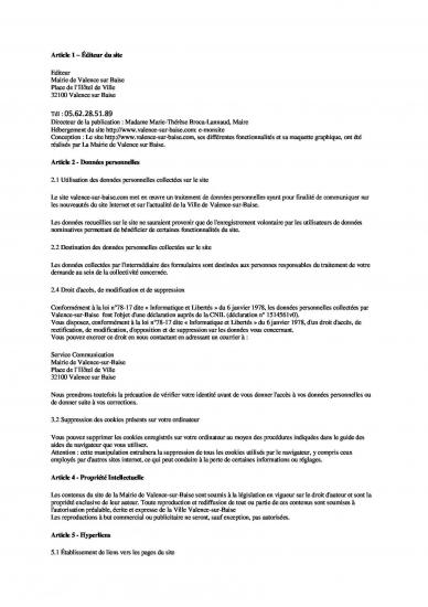 Mentions legales page 1